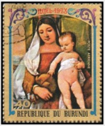 "Christmas ""The Virgin and Child"" / Рождество Христово ""Богородица и дитя"", 1973(Бурунди)"